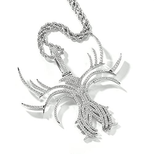 maozuzyy Collar Colgante Joyería Collar De Ocio De Moda Colgante De Circón Collar Clásico Minimalista Retro para Hombre-Plata