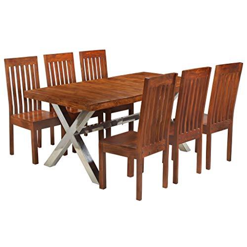 pedkit Conjunto de Comedor 7 Piezas Muebles de Jardin Exterior Conjuntos Madera Acacia Acabado sheesham