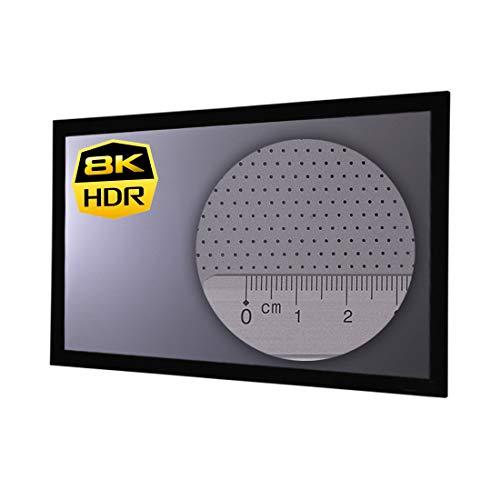 HiViLux Rahmenleinwand Hochkontrast Grau Tuch: HiViGrey Cinema 5D MP Akustics Akustisch transparent Micro Perforated Gain=1,25 (16:9 Bild:265x149cm 120