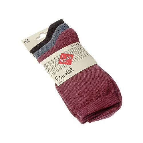 Kindy Socken, einfarbig, 3 Paar Gr. 37-41, Rubin / Blau / Schwarz