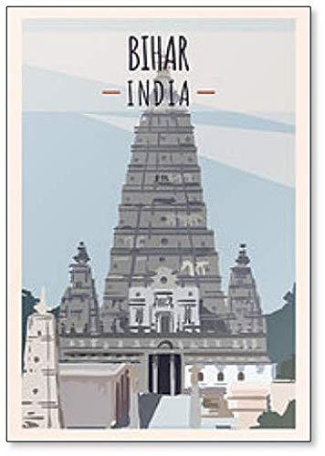 Bihar Reise-Illustration. State of India Kühlschrankmagnet
