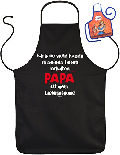 Schürze mit Vatertagsmotiv: Ich habe viele Namen... Papa ist mein Lieblingsname - Geschenk zum Vatertag - Mit gratis Mini Schürze - Vatertagsgeschenk