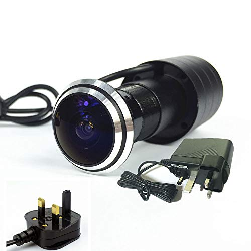 shrxy Überwachungskamera Mini Door Eye Camera Türspion Viewer Eye Camera Detection 170 Grad Weitwinkel (mit DC-Stecker)