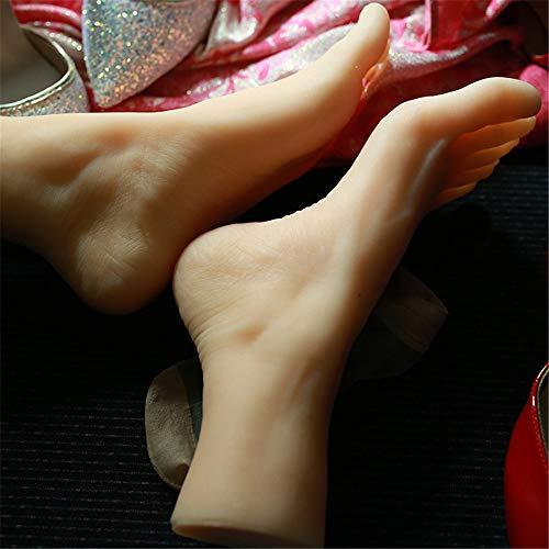 AFYH Silicone Pieds Modèle, 36A modèle de Pied en Silicone, Pieds féminins Beaux Accessoires de Pieds texturés naturels réalistes pour l'affichage des Chaussures et des Chaussettes