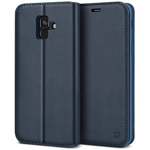 BEZ Handyhülle für Samsung A6 2018Hülle Kompatibel für Samsung Galaxy A6 2018 Tasche, Hülle Schutzhüllen aus Klappetui mit Kreditkartenhaltern, Ständer, Magnetverschluss, Blau Marine