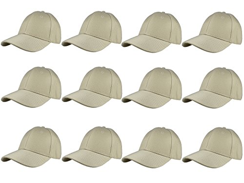 Gelante Plain Blank Baseball Caps Adjustable Back Strap Wholesale LOT 12 Pack- 001-Khaki