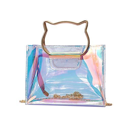 Bolso de cadena láser transparente de moda con forma de gato holográfico mango creativo bolso de cadena con estilo creativo para niñas mujeres damas