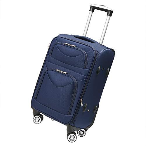 Stoffkoffer Trolley Reisekoffer Rollkoffer Weichschalen-Trolley Erweiterbar 4 Rollen Koffer Leichtgewicht Blau M