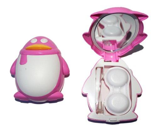Kontaktlinsenbehälter Aufbewahrungsbehälter Etui Set Spiegel süße Pinguin Pink