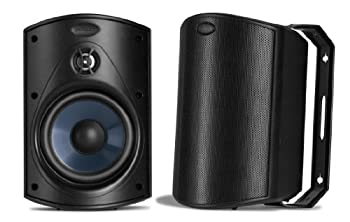 Polk Audio Atrium 4 Outdoor Speakers with Powerful Bass  Pair Black    All-Weather Durability   Broad Sound Coverage   Speed-Lock Mounting System  Renewed