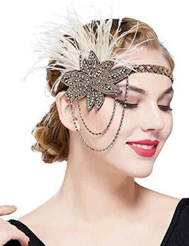 Coucoland 1920s Hoofdband veer met hangende ketting dames jaren 20 stijl flapper charleston haarband Great Gatsby dames carnaval carnaval kostuum haaraccessoires