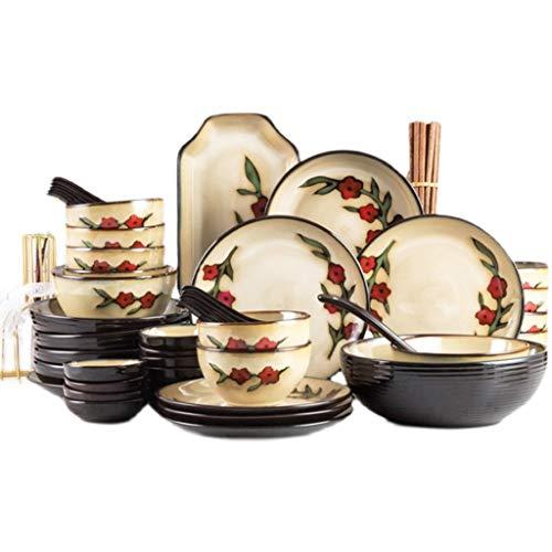 DAGONGREN Vajilla de cerámica Creativo Platos y vajillas, Conjunto de vajillas Anti-Scald de hogares