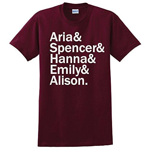 Pretty Little Liars T-Shirt PLL Shirt Pretty Little Liars Fan Shirt Versch. Farben und Grossen (Maroon, Medium)