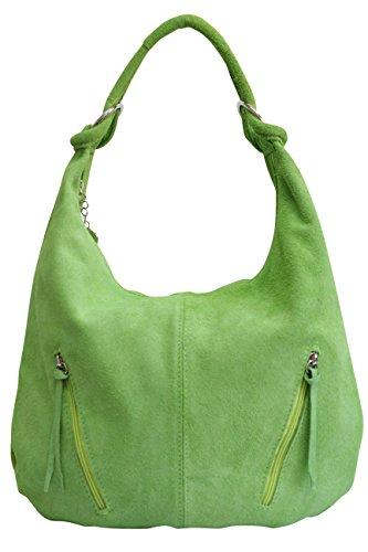 AMBRA Moda Damen Ledertasche Shopper Wildleder Handtasche Schultertasche Beuteltasche Hobo Tasche Groß WL822 (Apfelgrün)