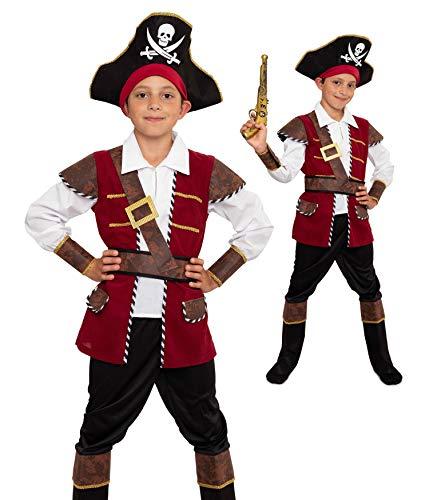 Magicoo Disfraz de capitán pirata para niños, rojo, negro y dorado, tallas 104 hasta 146, disfraz infantil de pirata (128/134)