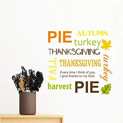 DIYthinker Thanksgiving Day Pie Automne Motif Amovible Mur Autocollant Art Stickers Mural DIY Papier Peint Chambre Decal 30Cm