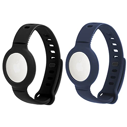 Paquete de 2 Correas de Reloj de Silicona Suave AirTags, Seguridad y, protección antipérdida y antiarañazos para niños, para posicionar la Pulsera Airtag Tracker, fácil de Llevar (Negro + Azul)