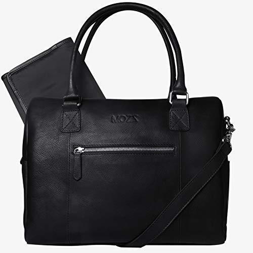 MOZZ Bags luiertas lederen wikkeltas Easy Elegant Black of Cognac zwart