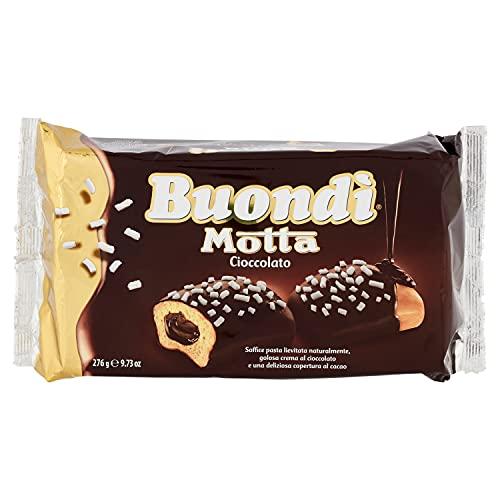 Buondì Motta - Buondì Cioccolato - Merendine per la tua Colazione - Impasto Lenta Lievitazione Naturale con Crema e Copertura al Cacao - Confezione da 6 Merendine Confezionate Singolarmente