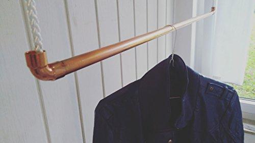 70 cm Premium Design Kleiderstange, Garderobenstange, aus Kupfer und Baumwollseil (weiß) hängend, Decken-Befestigung, Kleiderständer oder Garderobe, Shabby Chic, Vintage, Antik, Rosegold, livindo.pro