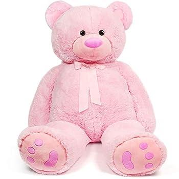 LotFancy 4FT Giant Teddy Bear Stuffed Animals Plush Cute Soft Cuddly Plush Teddy Bear Large Stuffed Animals Plush Toy with Big Footprint Valentine's Gifts for Girlfriend Kids 48 inch  Pink