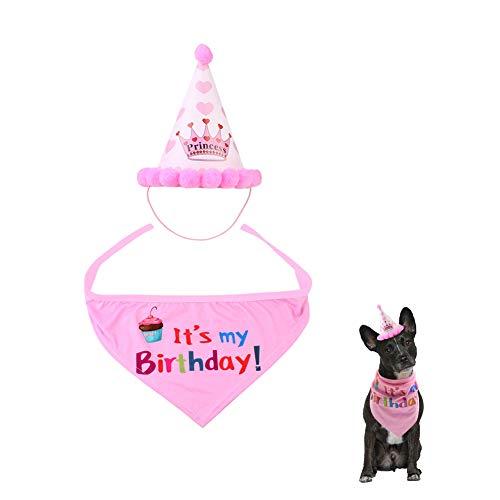 Bello Luna Buon Compleanno Bandana Sciarpe e Cappello Carino Partito per Cani Pet Decorazioni Regalo di Compleanno Set - Rosa