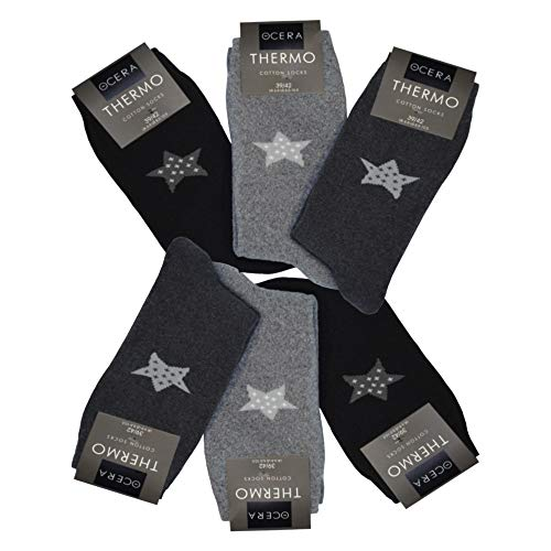 OCERA 6 Paar Thermo Socken für Damen mit Sternenlogo im Farbmix Schwarz, Anthrazit, Grau Gr. 39/42