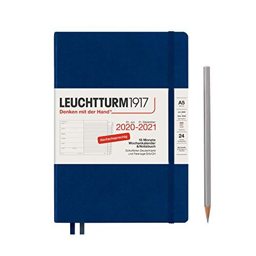 Wochenkalender und Notizbuch 2021 Hardcover Medium (A5), 18 Monate, Marine, Deutsch