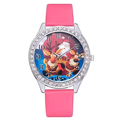 GJHBFUK Reloj Niño Classic Quartz Watch PU Correa De Cuero Decorada con Reloj De Moda para Niños De Moda para Niños Y Regalos De Niñas (Rose Rojo)