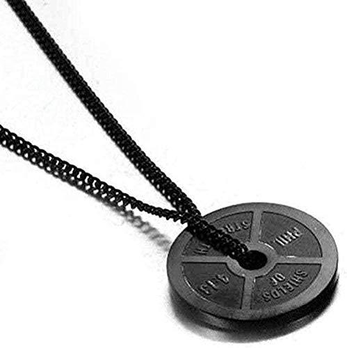 ZGYFJCH Co.,ltd Collar Colgante de Acero Inoxidable Collar de Fitness con Mancuernas Colgante de Barra de Acero de Titanio Collar Colgante de Bronce Dorado Regalos