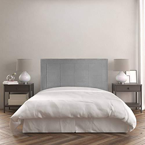 Cabecero Agatha | Tapizado Tejido Nido | 115 x 120 cm | para Camas de 105 cm |Color Nido 2/Gris | Antimanchas