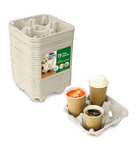 4 Cell Cup Carrier Disposable Drink Holder for Coffee Cups (75 Count) - Restaurant Supplies, Beverage Containers for Fast Food, Takeout, and Delivery, Biodegradable