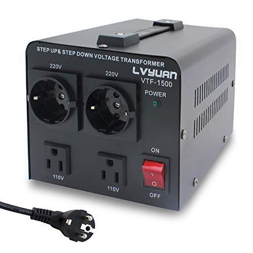 Yinleader VTF-1500VA - Transformador Elevador/Reductor de Voltaje de 1500 Vatios EE.UU. - Convertidor de Energía de 220 Voltios - 220V / 110V 1500W Estabilizador de Voltaje automático