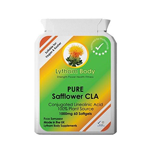CLA, Conjugated Linoleic acid 1000 milligrams x 60 capsules pure plant source vegetarian, Vegan . Safflower oil.