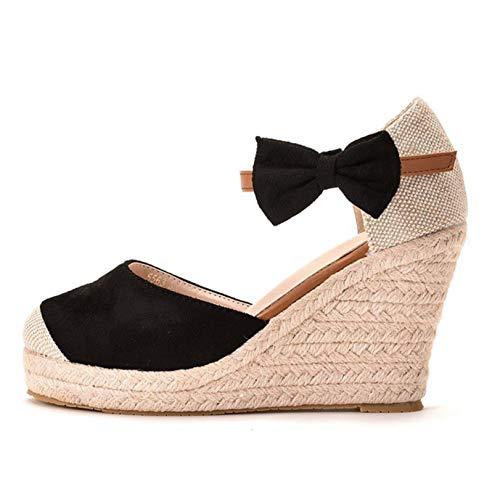 Zapatos Gruesos para Mujer, Punta Abierta con Fondo Suave, Correa de Tobillo al Aire Libre, Alpargatas con Boca de pez, Sandalias de cuña de Ocio para Mujer