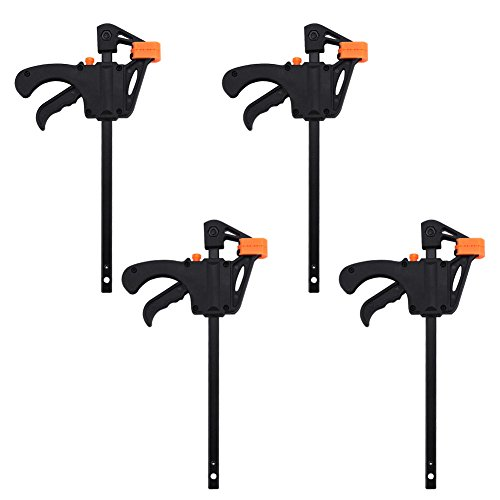 4pcs F-Shaped Bar Clamps, 4inch Clip Grip Quick Ratchet Release Squeeze Woodworking DIY Hand Tool Kit for Carpenter Wood Door Floor