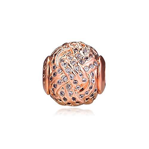 LIIHVYI Pandora Charms para Mujeres Cuentas Plata De Ley 925 Essence Rose Gold Affection Accesorios De Joyería con Orificios Pequeños Compatible con Pulseras Europeos Collars