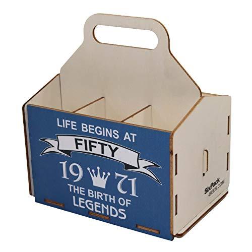 Wooden Beer Carrier, 6 Pack Bottle Carrier, Sixpack Beer Carrier, 50th Birthday, 50 Birthday Gifts,...