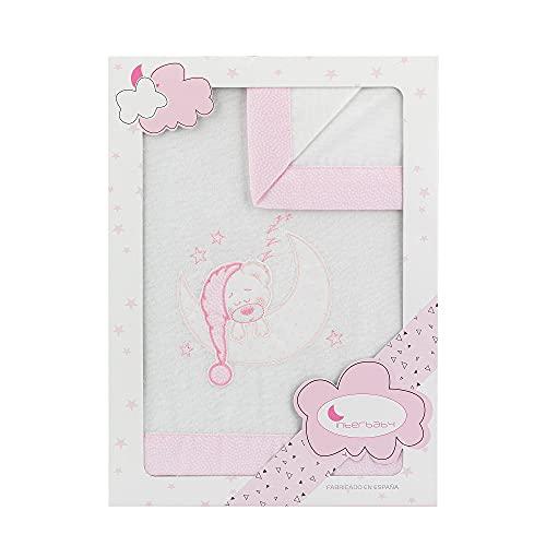 Juego de sábanas de FRANELA Bear Sleeping para cuna, en blanco y rosa