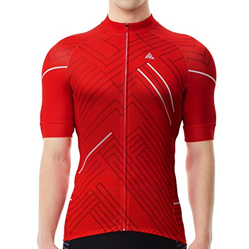 Hikenture Men's Cycling Jersey Short Sleeve,Bike Shirts with 3 Pockets