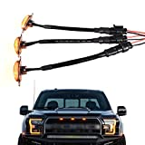 Boigoo Trucks Front Grill Lights for Ford Raptor F150 F250 F350 Grilles 2004-2020, Amber LED with Black Lens - 3 Unit | 2005 2006 2007 2008 2009 2010 2011 2012 2013 2014 2015 2016 2017 2018 2019