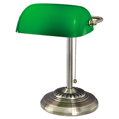 """Alera Traditional Incandescent Banker's Lamp, Green Glass Shade, 14""""h, Brass Base LMP557AB"""