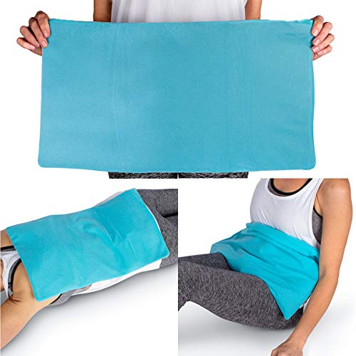 """ICEWRAPS Oversize Ice Pack with Soft Fabric Cover - 12""""x21"""" Reusable Flexible Cold Compress Therapy Wrap for Knee, Back, Hip, Sciatica Swelling, Injuries, and Pain Relief"""