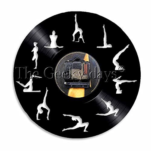 ROMK Reloj de Pared con Disco de Vinilo Reloj de Pared con Poste de Yoga Diseño Moderno Estudio de Yoga Reloj de Pared con Disco de Vinilo Deportivo R.