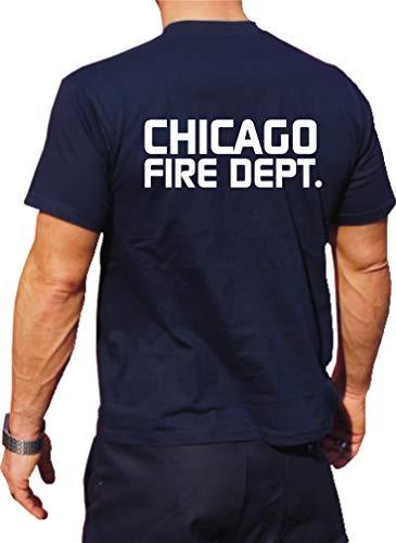 Feuer1 T-shirt fonctionnel Navy avec protection UV 30+, Chicago Fire Dept, Chicago Fire Dept, inscription XXL bleu marine