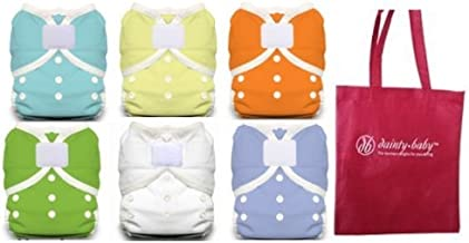 product image for Thirsties Duo Wrap Size 1 Cloth Diaper Cover 6 Pack Gender Neutral Cover with Dainty Baby Reusable Bag Bundle