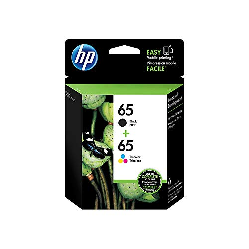 HP 65 | 2 Ink Cartridges | Works with HP Deskjet 2600 Series, 3700 Series, HP ENVY 5000 Series, HP AMP 100, 120, 125, 130 | Black, Tri-color | N9K01AN, N9K02AN