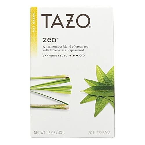 Tazo Zen Green Tea with Lemongrass & Spearmint, 20-Count Tea Bags (Pack of 6) 1.5 oz each / Net Wt 9.13 oz