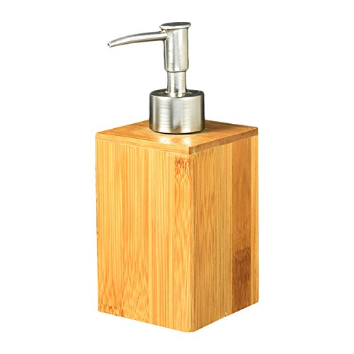 Pinklife Natural Bamboo Liquid Soap Dispenser,Lotion Sanitizer Shower Gel Bottle,Large Capacity Refillable Container for Bathroom Kitchen,2.8''x2.8''x6.7''