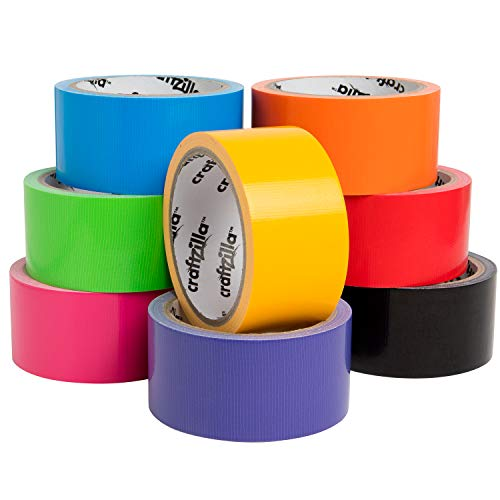Craftzilla Rainbow Colored Duct Tape — 8 Bright Duct Tape Colors — 10 Yards x 2 Inch — No Residue, Tear by Hand & Waterproof — Great for Arts & Crafts, Color-Coding, and DIY Projects